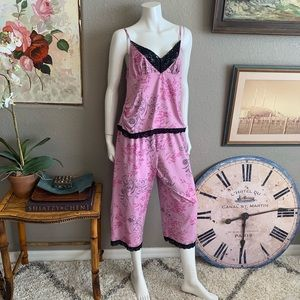 DELICATES Stretch Knit 2pc Cropped Summer Pajamas